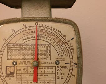 Vintage Postal Scale- Pelouze Scale- Industrial Scale- Vintage Office- Small Metal Scale- 5 lb Scale- Working Vintage Postage Scale