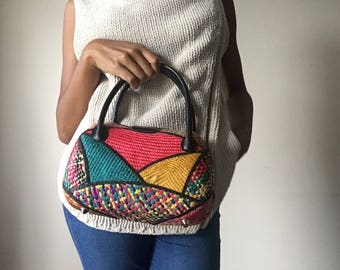 Vintage Rounded Colorful Woven Bag