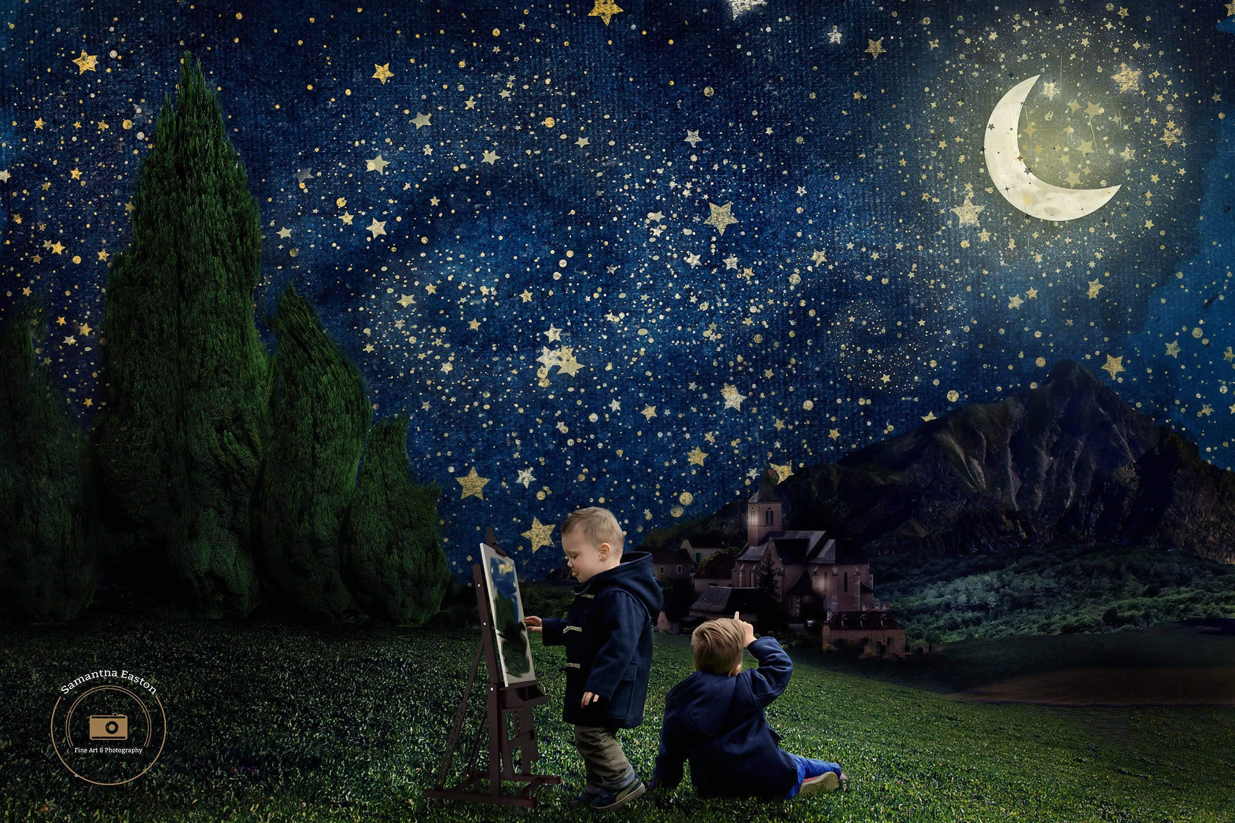 Starry Night Digital BackgroundDigital Backdrop Starry Night