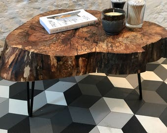 Solid Live Edge Timber Slab Side Table / Coffee Table.