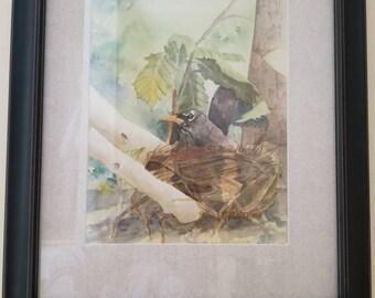 Original watercolor painting - BIRD IN NEST