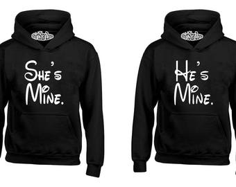 Couple Hoodies Cartoon Writing She's Mine - He's Mine Couples Cute Matching Love Couples Valentine's Day Gift