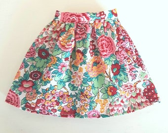 Curvy Barbie Fashionista Red Pink Green Floral Print Barbie Skirt made with Liberty Tana Lawn cotton fabric
