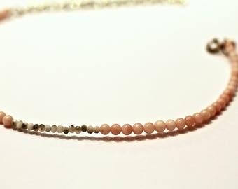 Pink Gray Beaded Choker • Gemstome Choker • Minimalist Choker • Beaded Necklace