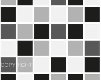 Pack of 10 black mosaic tile stickers transfers, with added gloss affect, just peel and stick, bathroom kitchen