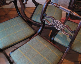 Set of Four Antique Distressed Dining Chairs, Professionally Upholstered in 100% British Wool Herringbone Tweed