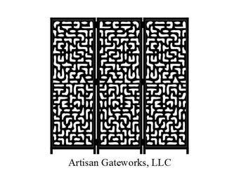 Steel Panel Room Divider - Hieroglyph Privacy Screen - Decorative Steel Room Divider - Custom - Handmade