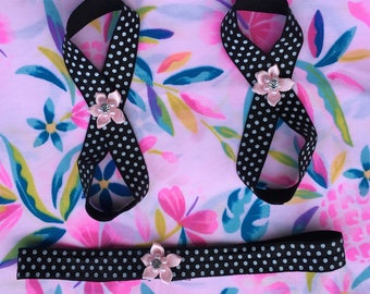 Barefoot baby sandals and matching headband.