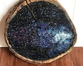 Galaxy wood slice
