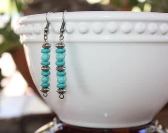 Turquoise Earrings,Silver Jewelry,Dangle Earrings,Boho,Birthday Gift,Jewelry,Anniversary Gift,Summer Jewelry,Gift for Her,Blue Earrings