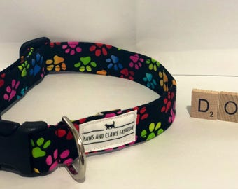 Dog/ Puppy collar with rainbow dog paws pattern - extra small, small, medium, large, extra large - FREE SHIPPING