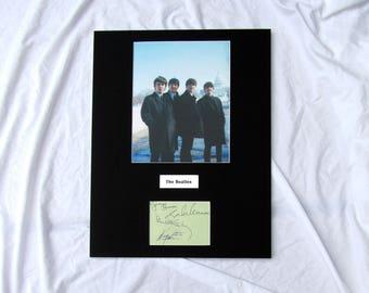 vintage Beatles Autograph Autographed Signed Display Art Piece black and white photograph photo artwork