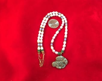 Pearl Necklace with Bronze Pendant 1