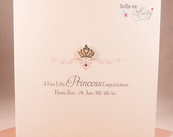 Little Princess New Baby Girl Card - personalised with name, weight and date of birth