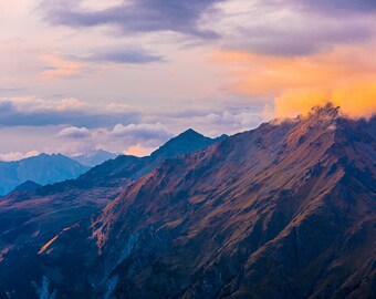 Large Alps Mountain Sunset Photography on Canvas 90cm x 60cm | mountain landscape panoramic canvas large alpenglow