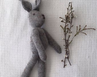 Knitted Toy Rabbit - Grey Colour