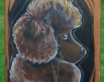 8x10 Painting of a Chocolate Poodle - SALE