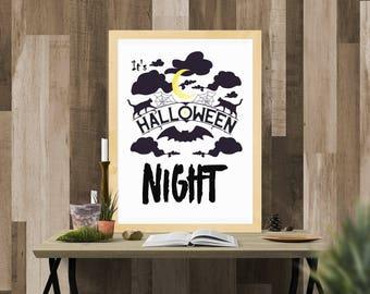 Halloween Printable / It's Halloween Night / Ready to Print Digital Download / Size 8x10 300 DPI / Halloween Wall Art and Printable