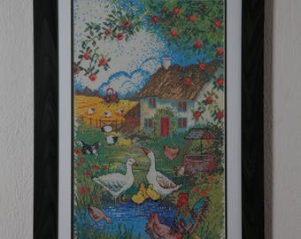 Framed Needle Work Wall Decor Picture 45x66 cm  Happiness in Nature