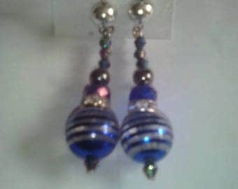 dangle earrings blue and iridescent tone