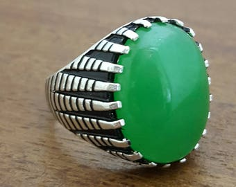925K Sterling Silver Mens Ring Green jade Gemstone