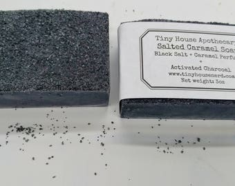 Acne soap, soap for oily skin, Salted caramel soap, black salt exfoliating soap, activated charcoal soap, oily skin treatment