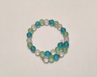 Sea Glass Memory Wire Bracelet