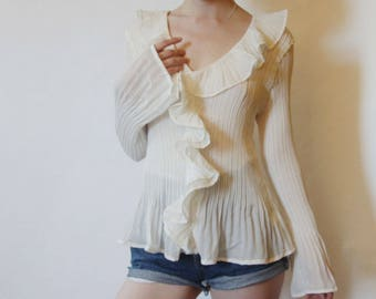 90s Sheer Textured Victorian Blouse M L