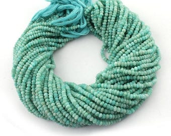 50% off 5 Strands Amazonite 4mm Faceted Center Drill Rondelles, Amazonite Gemstone Beads 13 Inches Long GR107