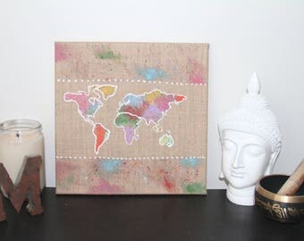 World Map Multicolor Original Painting on Burlap Canvas