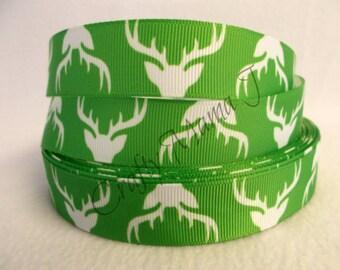 """Green Deer or Buck Silhouette Hunting Theme 7/8"""" Grosgrain Ribbon by the yard. Choose 3/5/10 yards. Deer Hunt Theme"""