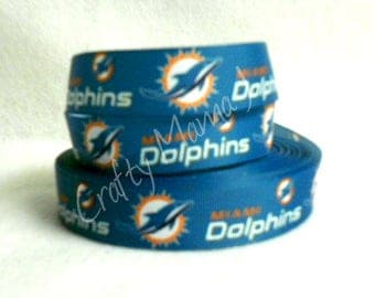 "Miami Dolphins NFL Football Team 1"" Grosgrain Ribbon by the yard. Choose between  3/5/10 yards."