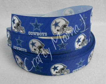 "Dallas Cowboys NFL Football Team 7/8"" Grosgrain Ribbon by the yard. Choose between 3/5/10 yards."