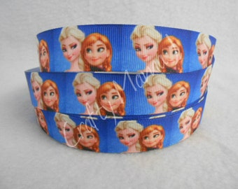 "Elsa And Anna Frozen Sisters on 7/8"" Grosgrain Ribbon by the yard. Choose 3,5, or 10 yards. Snow Queeen and Princess"