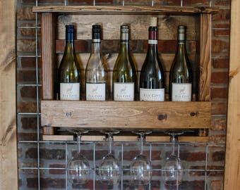 rustic wallmounted wine rack