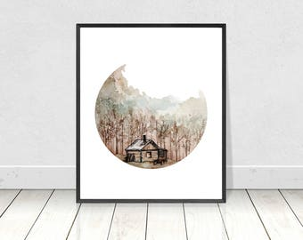 Printable Watercolor Autumn Cottage in the Woods Painting Art Print- Rustic Fall Wall Art and Home Decor- Digital Download