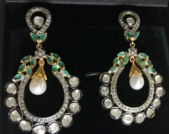 Victorian style 3.10ctw rose cut diamonds polki emerald  pearls sterling silver Statement long danglers Wedding earrings Chand Bali
