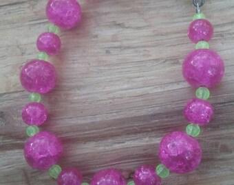 Glass anklet 8 inch pink boho hippy jewelry