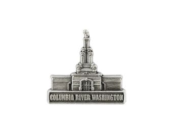 Columbia River Washington Temple Silver Pin - LDS Gifts
