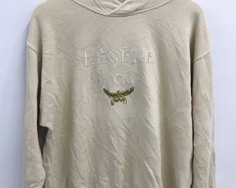 RARE!! Vintage MCM Legere Hoodie Sweatshirt..Embroided Logo..Size M..Made in Italy..