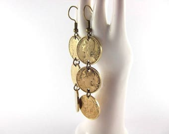 Earrings - trio 5 centimes coins