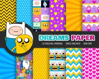 Adventure Time - Digital Paper + Free Clipart