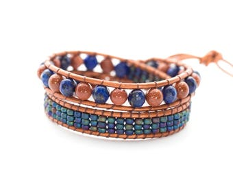 Woman 2 Lapis Lazuli rounds Wrap bracelet