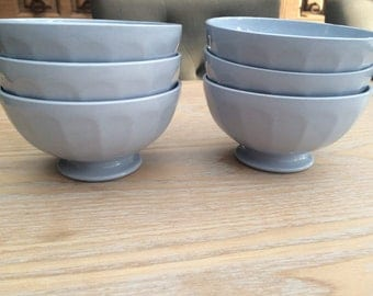 Set of 6 bowls ribbed old