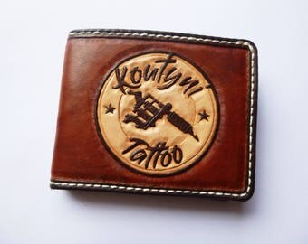 Leather billfold wallet,handmade,hand carved