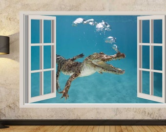 Crocodile Underwater Swim Wall Stickers, Kids Wall Mural, Wall Sticker Art Decal Mural 364A