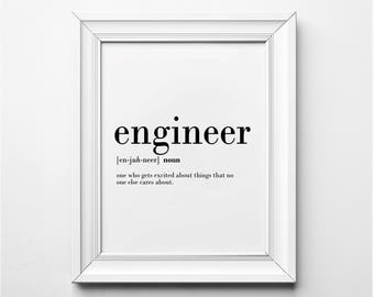 Engineer Definition, Engineer Gift Ideas, Engineer Wall Art, Word Art, Funny Definition Art, Funny Printable Art, Instant Download