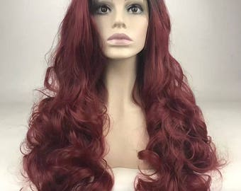 100% Unprocessed Human Hair Full Lace Wig Ombre 1b/Burgundy wavy Human Hair Wig With Baby Hair