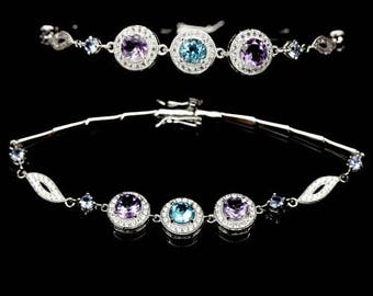 Bracelent gold plated, Amethyst, Sky Blue Topaz and Zirconium S925 silver