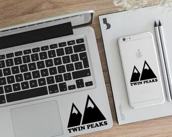 Twin Peaks Decal, Twin Peaks Sticker, Agent Cooper, Mountain Decal, Macbook Decal, Laptop Sticker, Vinyl Decal, Macbook Air Decal, LD020